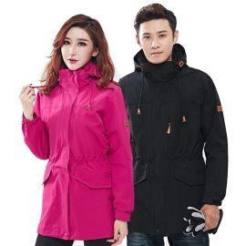 廠家批發戶外衝鋒衣兩件套男女長款工作服冬季保暖三合一防水定制