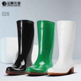 金橡劳保雨鞋女士高筒雨靴时尚食品厨房胶靴828