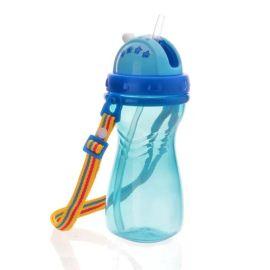 背帶吸管水杯  防漏大口徑兒童水壺 兒童運動水杯