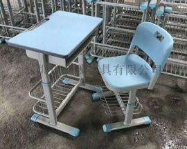 深圳学校专用塑钢课桌椅*中学生课桌椅厂家