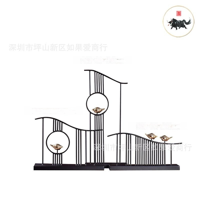 新中式中国风黑色禅意铁艺金属样板间客厅书房别墅软装饰品摆件