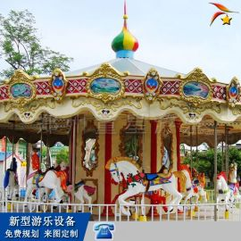 户外庙会转马游乐设备 小型旋转木马游乐设施厂家