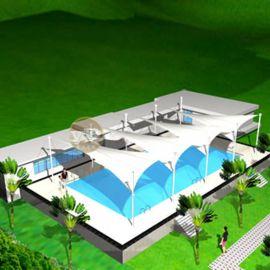 膜结构厂家生产设计游泳池膜结构景观篷张拉膜遮阳棚