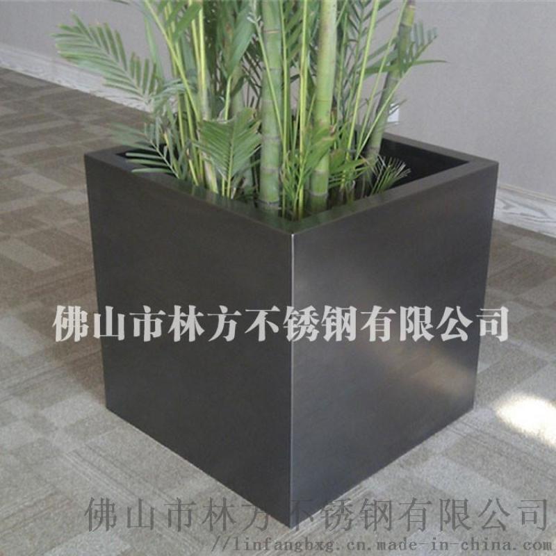 擺設不鏽鋼拉絲鈦金不鏽鋼花盆 佛山林方定製花盆
