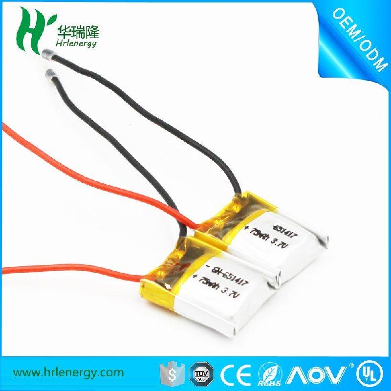 651417 -75mah 聚合物电池厂家