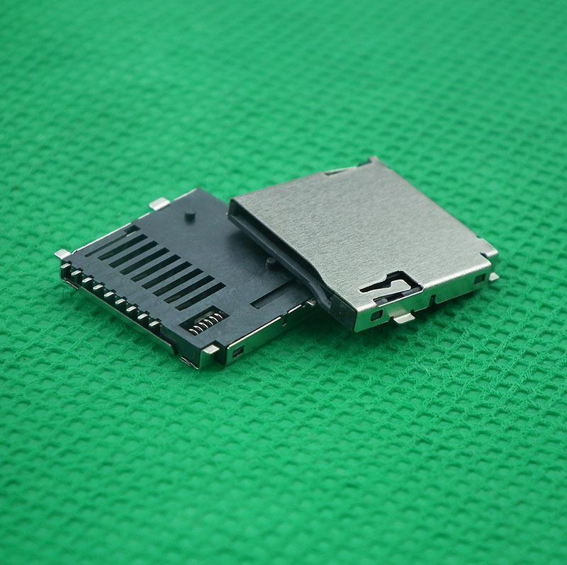 现货供应TF PUSH9针自弹式卡座外焊式MicroSD内存卡座tf自弹卡座