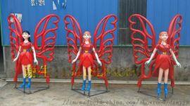 花乡田园形造风采特色玻璃钢花仙子雕塑卡通人物形象