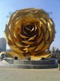 大型玻璃钢创意玫瑰花雕塑