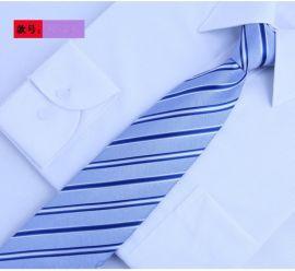 8CM领带男商务职业正装 蓝色条纹 桑蚕丝新郎结婚礼盒装真丝