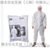 3M 4515白色带帽防护服 防尘防菌 清洁扫除 工地隔离防化服正品