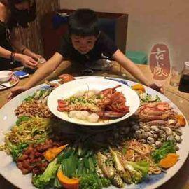 酒店聚餐海鲜大菜盘 陶瓷花蝶大鱼盘 直径80厘米圆形陶瓷菜盘 厂家直销