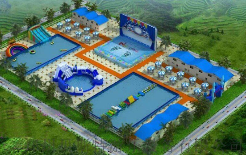 安徽池州水上樂園廠家定做搭配水上浮具充氣水池