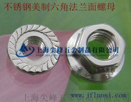 不锈钢美制六角法兰面螺母,DIN6923