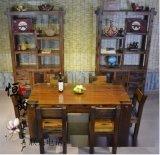 老船木实木餐桌中式船木功夫茶几茶桌茶台特价客厅高档茶桌椅组合