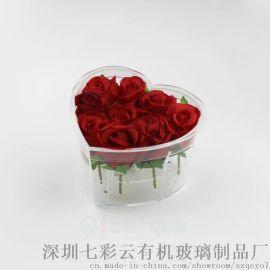 七彩云有机玻璃透明包装盒心玫瑰花盒亚克力礼品收纳盒