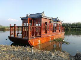 出售陕西甘肃8米电动画舫船木船厂家水上接待观光船