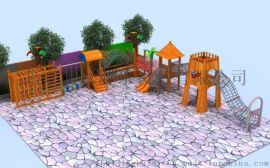 木質組合滑梯幼兒園滑梯原生態樹屋滑梯攀巖攀爬架
