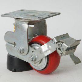 厂家直销 5寸单簧减震刹车脚轮 减震聚氨酯轮子 工手推车脚轮批发