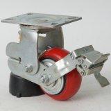 廠家直銷 5寸單簧減震剎車腳輪 減震聚氨酯輪子 工手推車腳輪批發