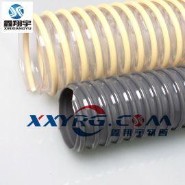 PVC白透明牛筋管/螺旋缠绕管/塑筋龙骨增强软管耐酸碱20mm