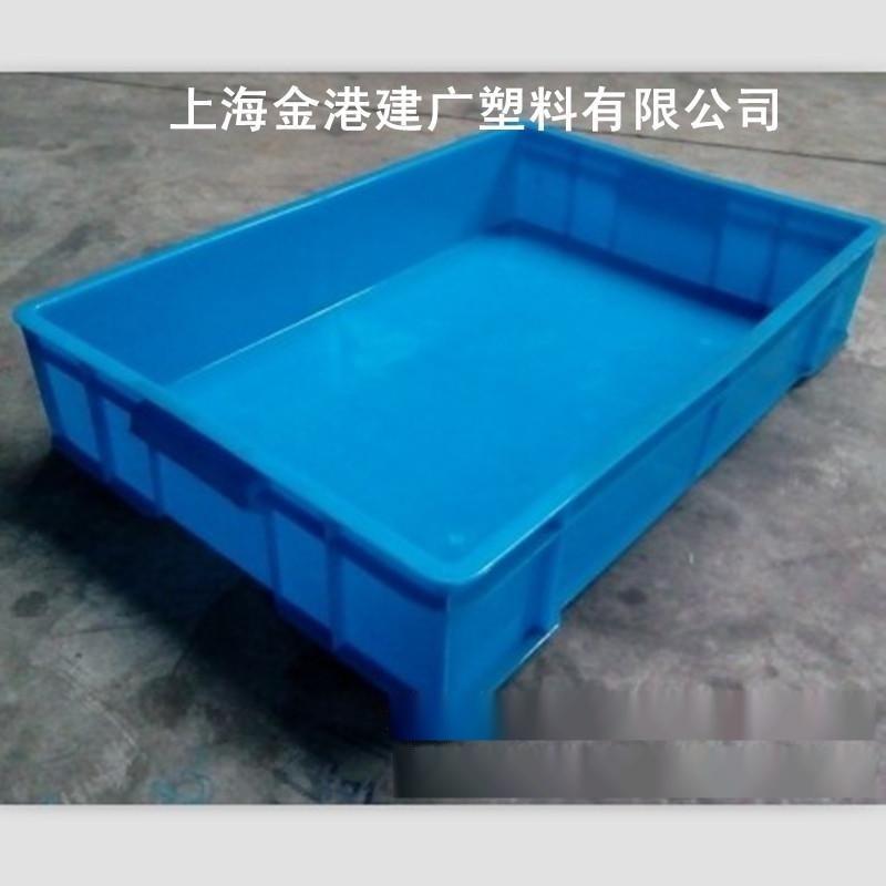 厂家** 料塑料周转箱  640*420*120  PE物流箱  蓝色塑料箱