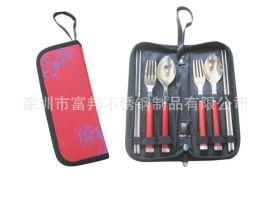 高档塑料柄旅行餐具两勺两叉两筷套装