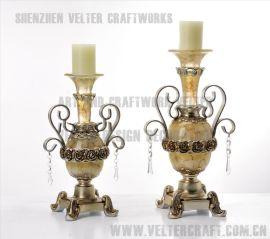 欧式家居饰品软装摆件透明树脂银玫瑰花蜡烛台摆设