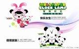 童话时光壁钟 创意礼品 熊猫墙纸时钟 儿童卧室书房挂钟