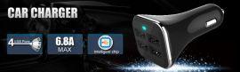 EYON R50四充USB车载充电器 过认证大电流带电瓶显示双口Usb车充
