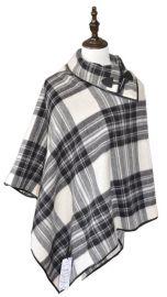 2016羊絨羊毛黑白格黑色冬季女士純羊毛斗篷工廠定製