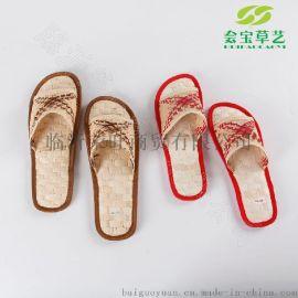 天然草编拖鞋 新奇特男女士拖鞋 纯手工草编拖鞋  玉米叶手工编织 居家休闲草编拖鞋
