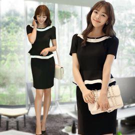 定做新款时尚职业装工作服时尚美容职业修身工装连衣裙