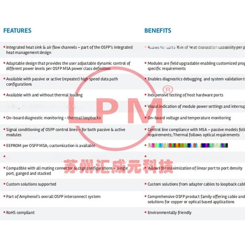 苏州汇成元供应Amphenol(安费诺) FCI NLMAME00XX Cable 替代品线缆组件
