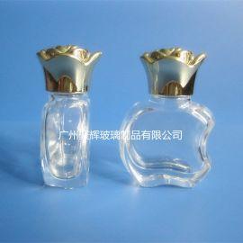 10ml苹果香水瓶 玻璃指甲油瓶 金色玫瑰花盖瓶