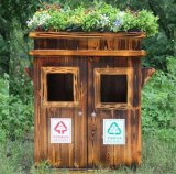 户外垃圾桶街道社区公共垃圾筒公园木质环保垃圾箱