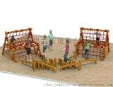 兒童樂園拓展設施 木質拓展攀爬架 原生態木質滑梯