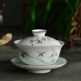 手绘瓷器中式盖碗茶杯 创意功夫茶具泡茶碗批