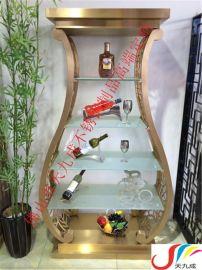 香港铜锣湾餐厅  欧式不锈钢酒柜,澳门别墅酒窖钛金不锈钢酒架