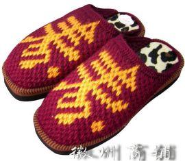 手工男式寿字保暖拖鞋-TX010