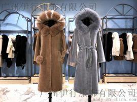 高端尾货直播货源羊剪绒大衣品牌折扣女装店进货渠道