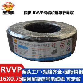 厂家直销金环宇电缆 铜网  RVVP16*0.75平方信号控制线电源线