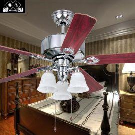 F017五叶52寸云石吊钟欧式复古风扇灯新式餐厅客厅带灯吊扇厂家