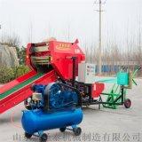 节省人工全自动牧草青贮打捆包膜机 柴油打捆一体机