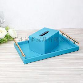 欧式皮革纸巾盒摆件定制 简约抽纸盒汽车载家用