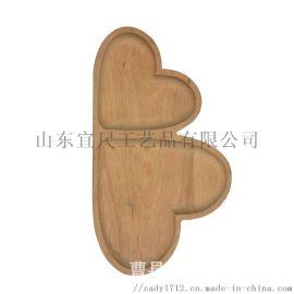 创意家用儿童餐具餐盘 实木质心形餐盘