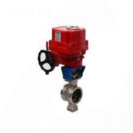 进口法兰电动V型球阀-4-20MA调节-高调节精度
