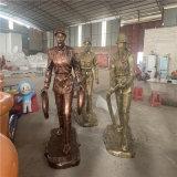 佛山玻璃钢仿铜人物雕塑公园消防主题宣传教育雕塑