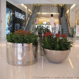 花盆雕塑景观亚光面不锈钢花盆金属雕塑装饰