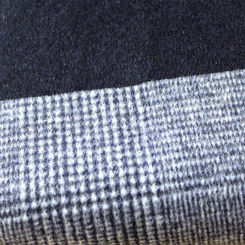 顺毛格子双面呢大衣粗纺毛呢面料厂家直销