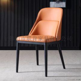 联肯家具家用现代简约凳子靠背椅铁艺化妆椅皮革软包休闲椅